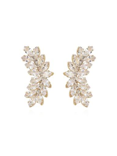 Copper Cubic Zirconia Geometric Dainty Stud Trend Korean Fashion Earring