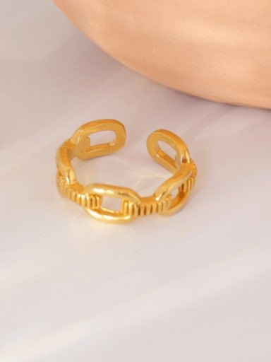 Chain ring Brass Imitation Pearl Geometric Vintage Band Ring