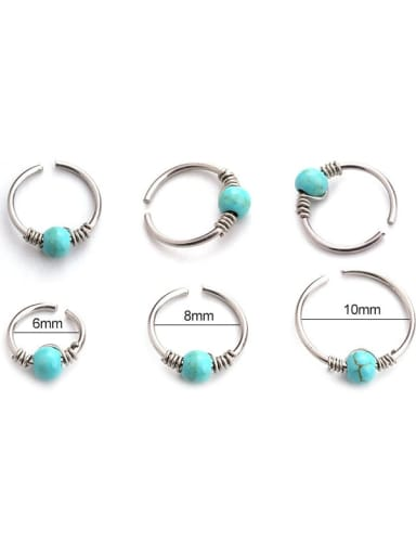 Stainless steel Turquoise Geometric Hip Hop Nose Studs(Single)