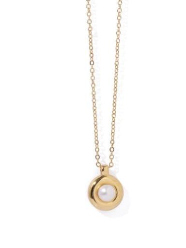 Brass Imitation Pearl Geometric Vintage Necklace