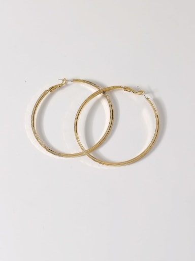 Brass Smooth Round Minimalist Hoop Earring