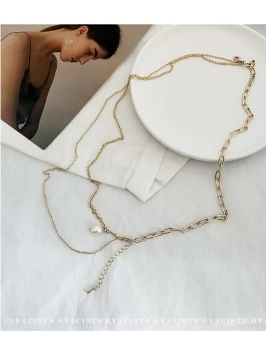 Zinc Alloy Freshwater Pearl White Geometric Trend Link Necklace