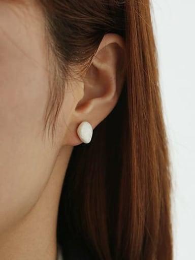 Small  (single) Brass Freshwater Pearl Irregular Minimalist Stud Earring
