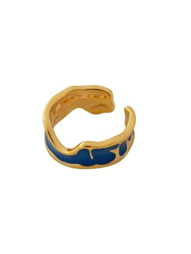 Brass Enamel Geometric Minimalist Band Ring