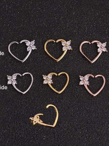 Brass Cubic Zirconia White Heart Minimalist Stud Earring