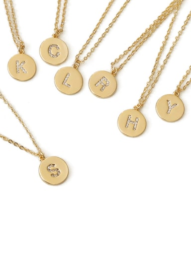 Brass Message Vintage round pendant Necklace