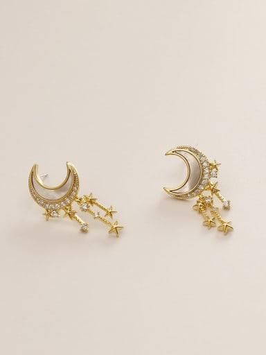 Brass Shell Moon Ethnic Drop Earring