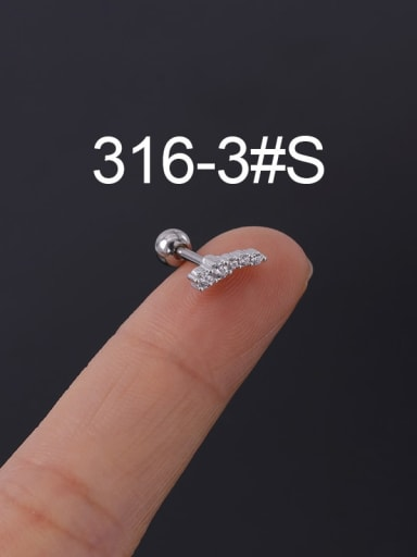 3S Stainless steel with Cubic Zirconia Ear Bone Nail/Puncture Earring