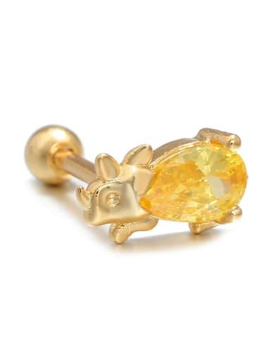 Small yellow dinosaurs (Single) Brass Cubic Zirconia Multi Color Dinosaur Cute   single Stud Earring