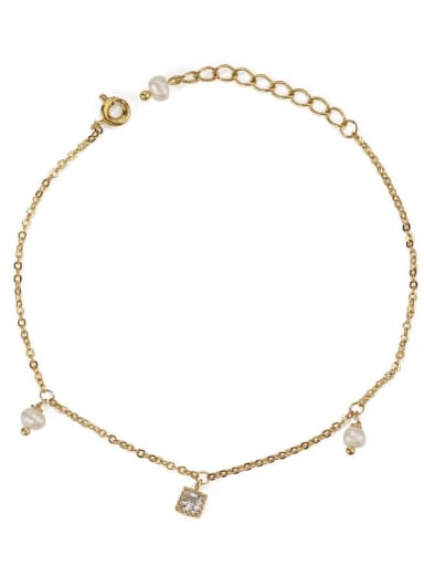 Square zircon Brass Cubic Zirconia Star Minimalist Link Bracelet