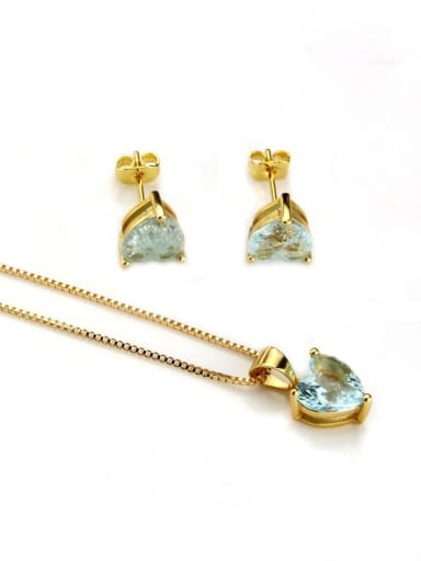Gold Plated Blue Zircon Brass Heart Cubic Zirconia Earring and Necklace Set