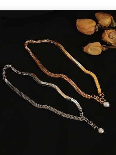 Brass Imitation Pearl Snake Chain Hip Hop Necklace