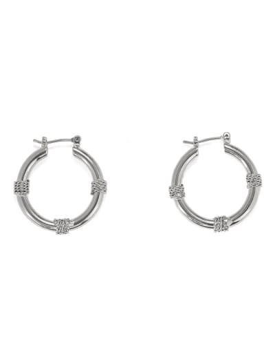 Platinum Brass Geometric Vintage Huggie Earring