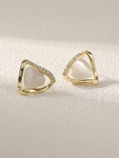 Brass Cats Eye Triangle Minimalist Stud Earring