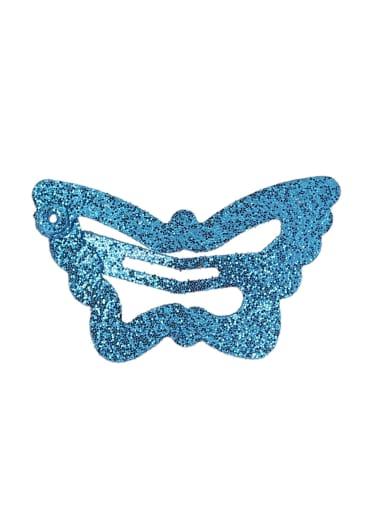 blue(1 pack = 100 pcs) Alloy Multi Color Cute Butterfly  Hair Barrette