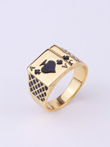golden Zinc Alloy Enamel Geometric Vintage Band Ring