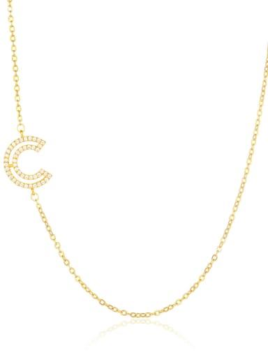 C Brass Cubic Zirconia Letter Minimalist Necklace