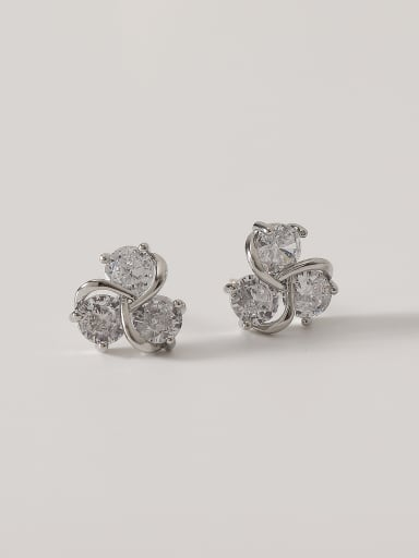 White K Brass Cubic Zirconia Flower Cute Stud Earring