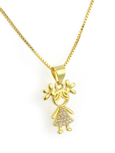 Gilded girl Brass Cubic Zirconia Cute Necklace