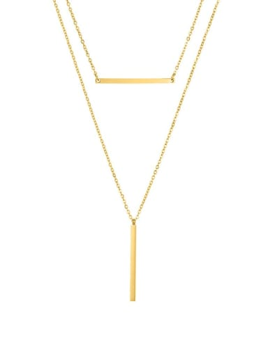 golden Stainless steel Geometric Dainty Multi Strand Necklace