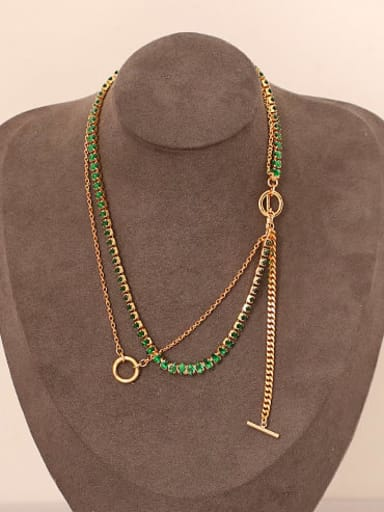Brass Cubic Zirconia Geometric Minimalist Multi Strand Necklace