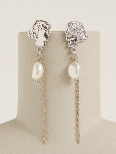 Brass Freshwater Pearl Tassel Vintage Drop Earring