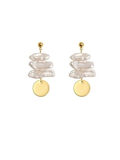 Brass Freshwater Pearl Geometric Vintage Drop Earring