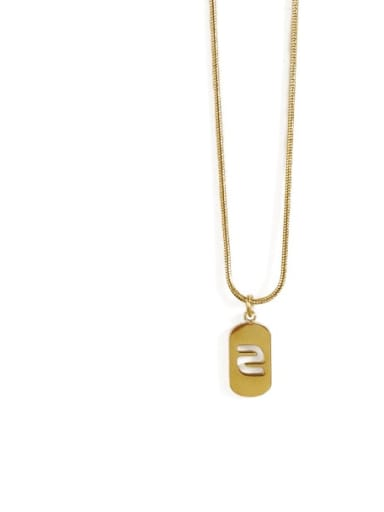 Gold 2 Titanium Steel Number Minimalist Pendant Necklace