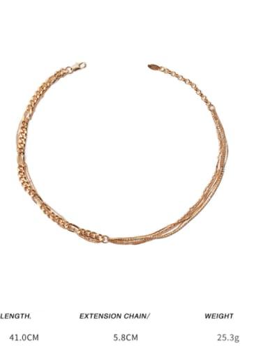 golden Brass Cubic Zirconia Geometric Minimalist Multi Strand Necklace