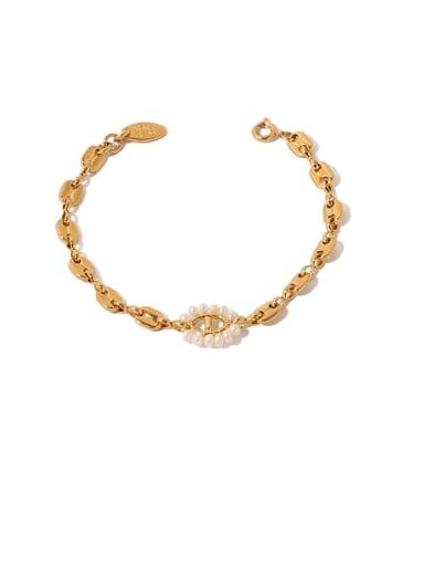 Bracelet Brass Freshwater Pearl Geometric Vintage Necklace