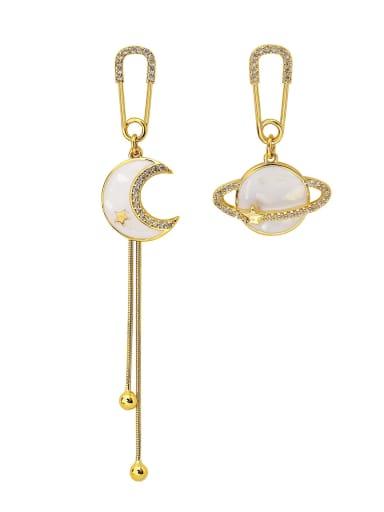 Brass Enamel Ball Ethnic Threader Earring