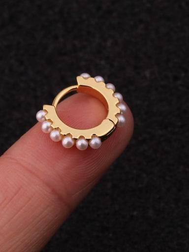 gold Brass Imitation Pearl Geometric Hip Hop Single Earring