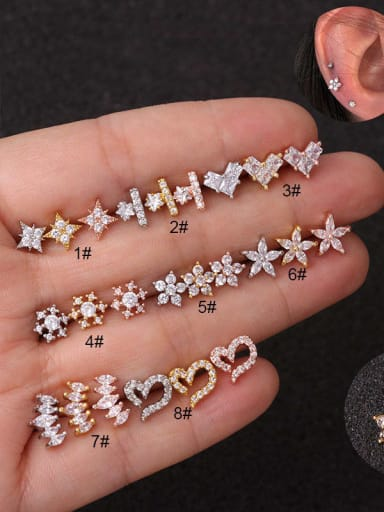 Brass Cubic Zirconia White Star Minimalist Stud Earring