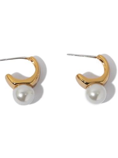 Brass Imitation Pearl Geometric Vintage Stud Earring