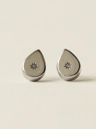 Brass Rhinestone Water Drop Vintage Stud Earring