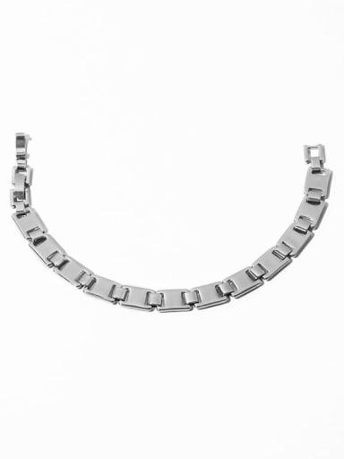 Platinum Bracelet Brass Smooth Geometric Chain Minimalist Choker Necklace