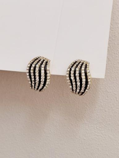 Brass Cubic Zirconia Geometric Vintage Stud Earring