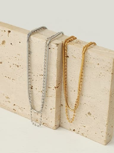 Brass Bead Geometric Hip Hop Multi Strand Necklace
