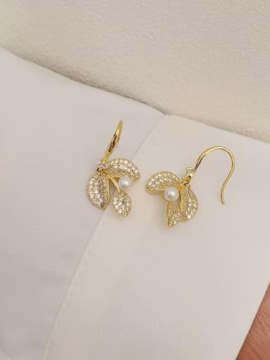 Brass Cubic Zirconia Leaf Vintage Hook Earring