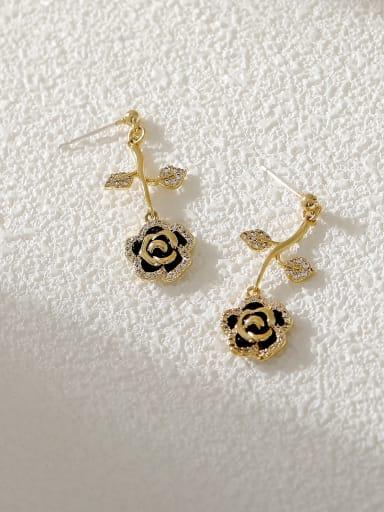 Brass Cubic Zirconia Enamel Rosary Trend Drop Earring