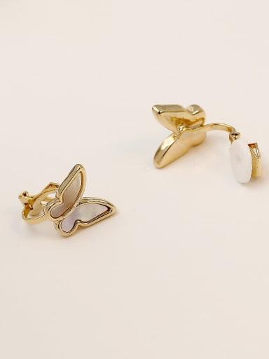 14k Gold [ear clip] Brass Shell Butterfly Cute Clip Earring