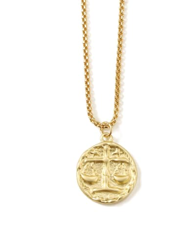 libra Brass coin Minimalist Twelve constellations Pendant Necklace