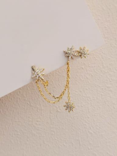 Brass Cubic Zirconia Star Minimalist Ear Cuff Earring