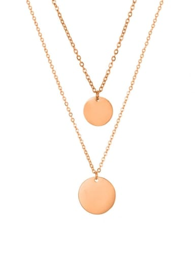 rose gold Stainless steel Round Minimalist Multi Strand Necklace
