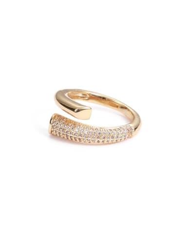 Brass Cubic Zirconia Irregular Hip Hop Band Ring