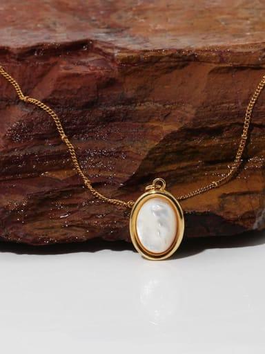 Brass Shell Geometric Vintage Necklace