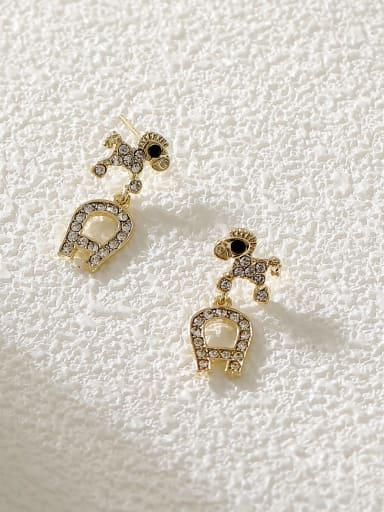 Brass Cubic Zirconia Dog Vintage Stud Earring