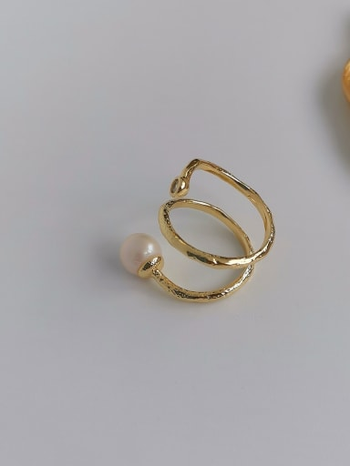 Copper Imitation Pearl Geometric Minimalist Free Size Band Ring