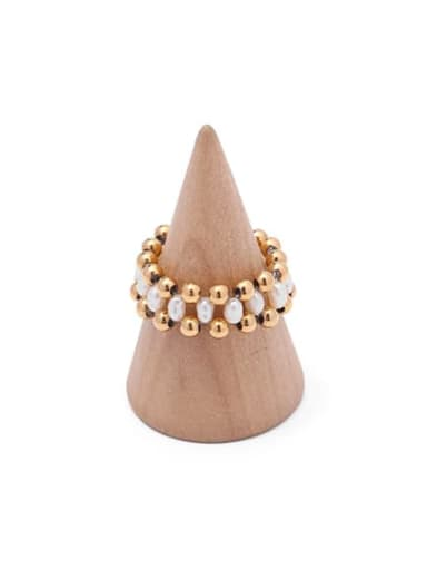 3 gold (only size 7) Brass Imitation Pearl Geometric Hip Hop Band Ring