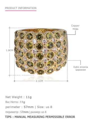 Golden Olive US8 57mm Brass Rhinestone Geometric Vintage Statement Ring